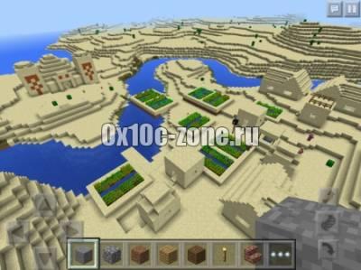 Деревня в пустыне. Seed для Minecraft PE 0.14.0